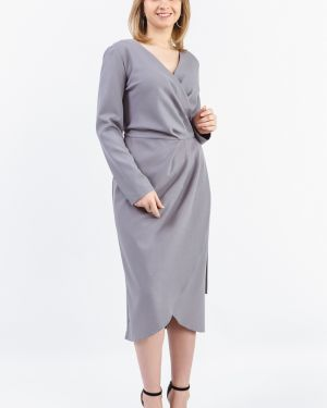 Платье с поясом серое с запахом Lacywear