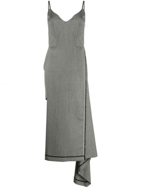 Асимметричное платье с V-образным вырезом с драпировкой без рукавов Litkovskaya