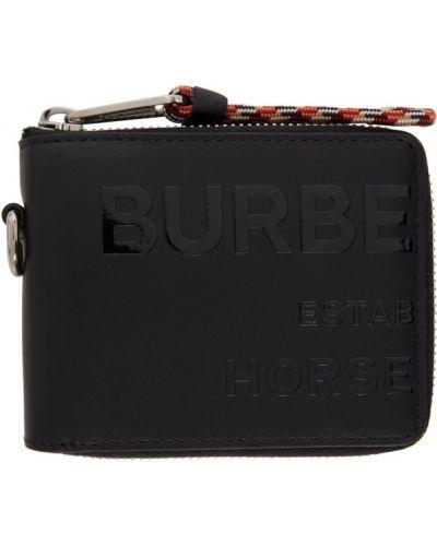 Черный кожаный кошелек для монет с тиснением Burberry