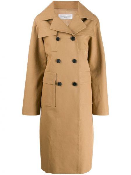 Длинное пальто двубортный с воротником на пуговицах Victoria Beckham