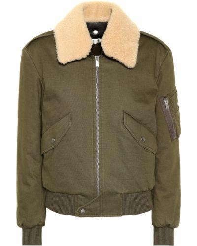 Кожаная куртка осенняя милитари Saint Laurent