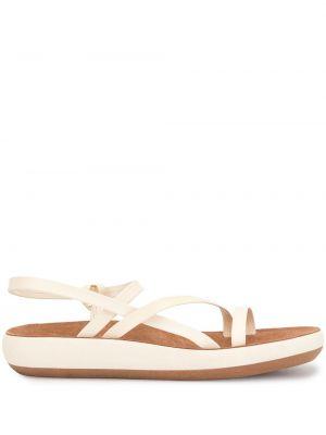 Białe sandały grecki skorzane płaska podeszwa Ancient Greek Sandals