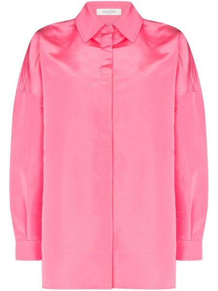 Розовая шелковая рубашка оверсайз Valentino