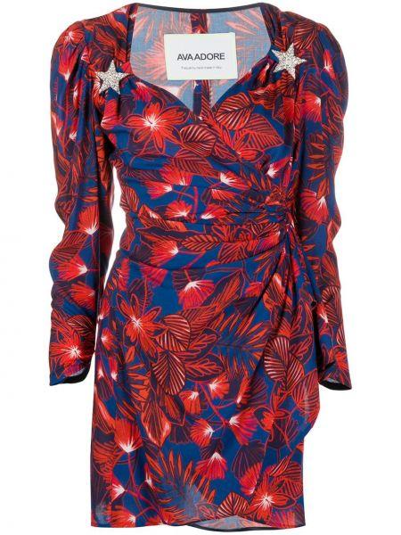 Красное платье с запахом с V-образным вырезом на молнии Ava Adore