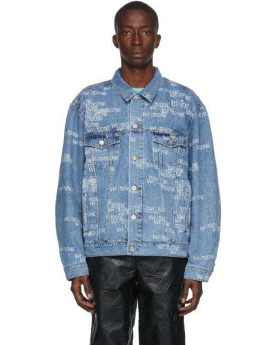 Белая джинсовая куртка с манжетами стрейч с воротником We11done