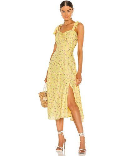 Домашнее желтое платье миди с подкладкой Bardot