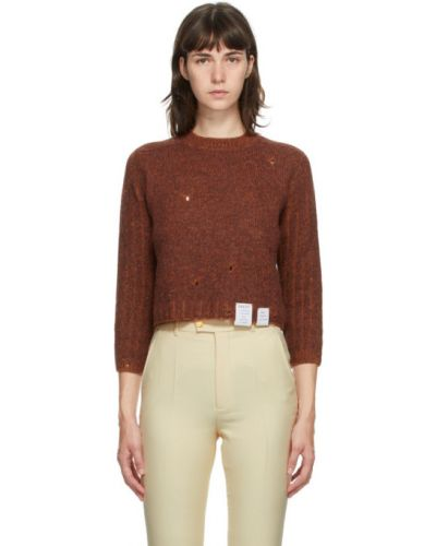 Z rękawami pomarańczowy sweter z kołnierzem z łatami Gucci