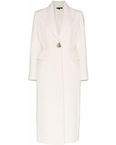 Однобортное белое длинное пальто с капюшоном Blindness