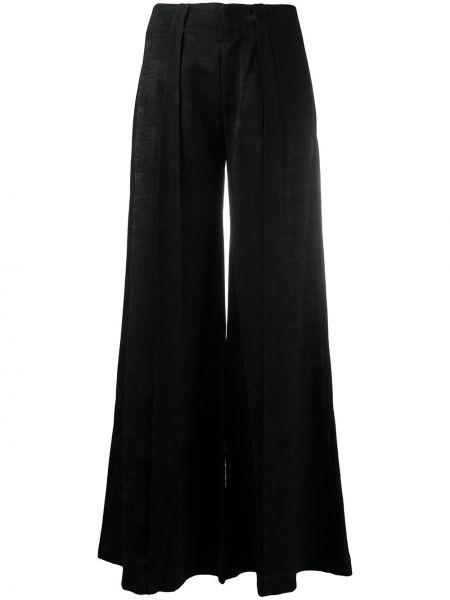 Черные свободные брюки свободного кроя с высокой посадкой с декоративной отделкой Andrea Ya'aqov