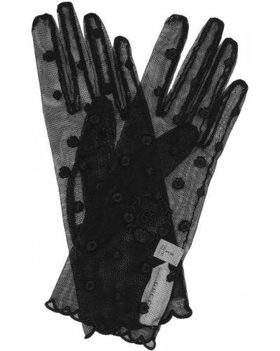 Черные перчатки с вышивкой из фатина Gucci