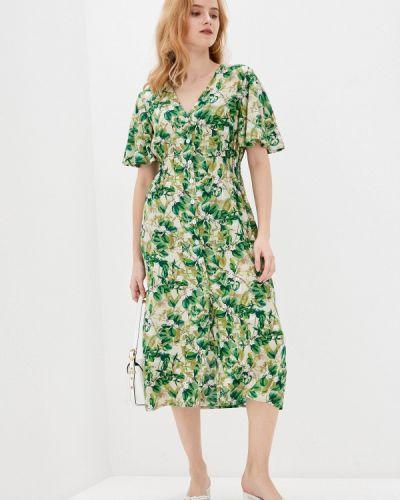 Прямое зеленое платье А-силуэта Allegri