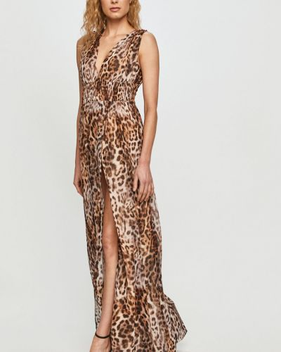 Sukienka koktajlowa bez rękawów materiałowa w szpic Marciano Guess