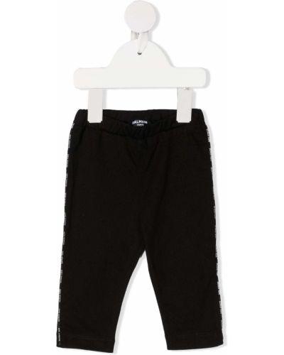 Czarne legginsy z wysokim stanem bawełniane Balmain Kids