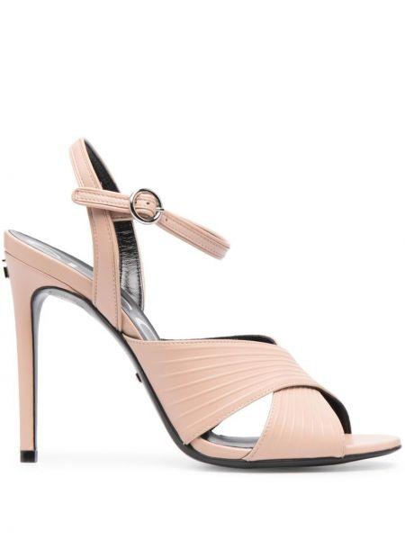 Różowe sandały skorzane klamry Gucci