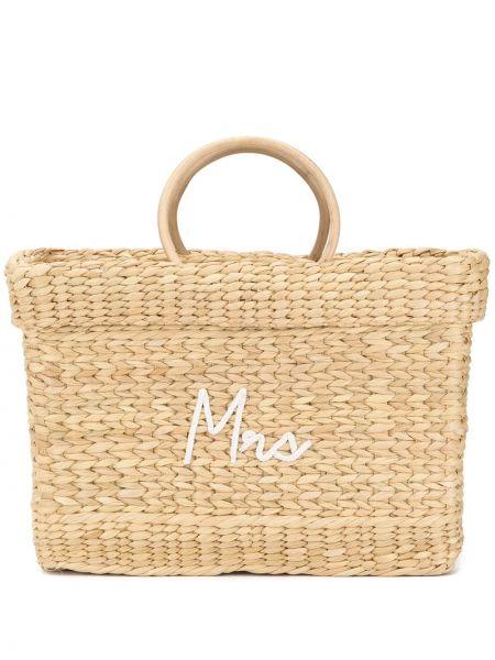 Плетеная сумка-тоут круглая с вышивкой Poolside
