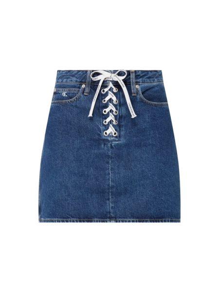 Bawełna bawełna niebieski dżinsowa spódnica z paskami Calvin Klein Jeans