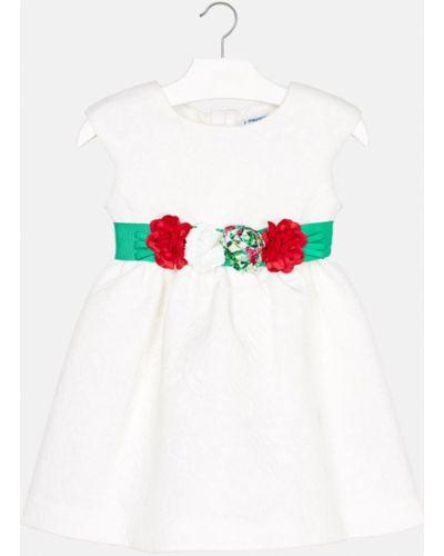 Платье с рукавами однотонное белое Mayoral
