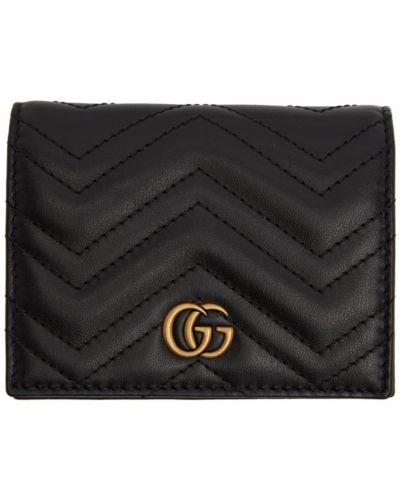 Skórzany pikowana czarny portfel skórzany z gniazdem Gucci