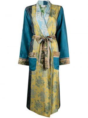 Синее длинное пальто с карманами с лацканами Pierre-louis Mascia