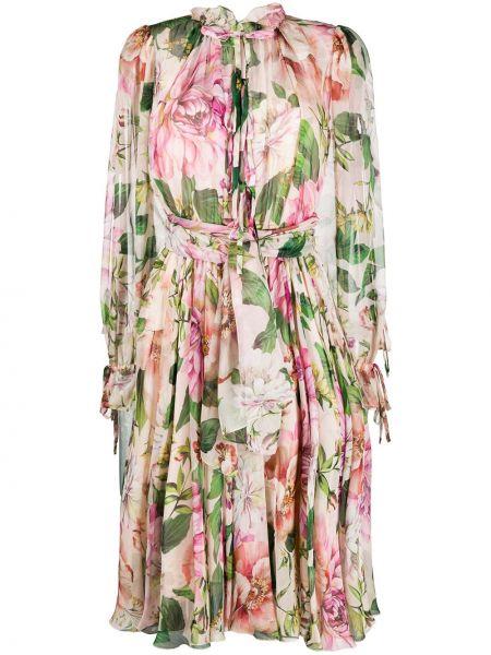 С рукавами шифоновое розовое платье макси с манжетами Dolce & Gabbana