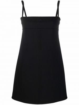 Czarna sukienka z haftem Courreges