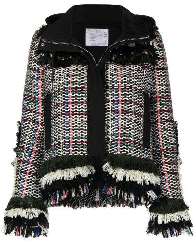 Черный классический пиджак твидовый с капюшоном Sacai