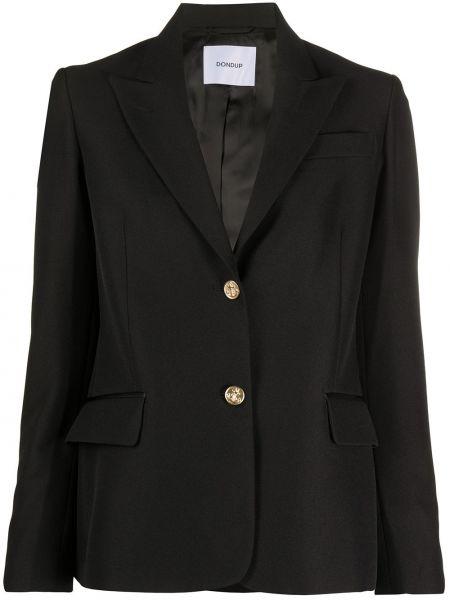 Черный прямой пиджак с карманами из вискозы Dondup