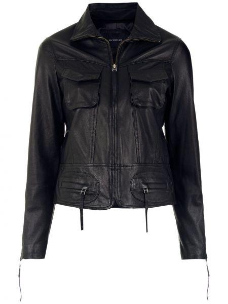 Черная кожаная длинная куртка на молнии Olympiah