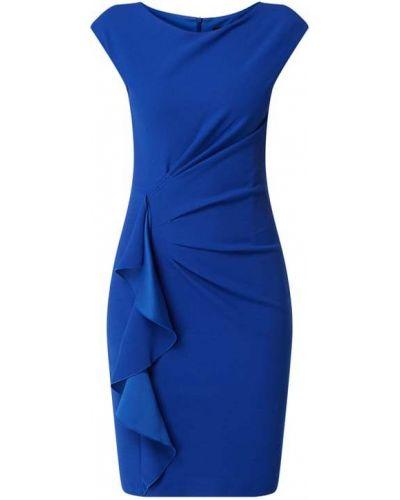 Niebieska sukienka koktajlowa z falbanami bez rękawów Paradi