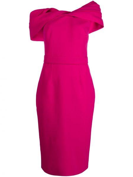 Приталенное розовое платье миди Safiyaa