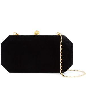 Золотистая шелковая черная сумка на цепочке с карманами Tyler Ellis