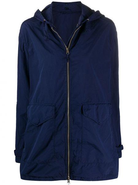Синяя длинное пальто с капюшоном на молнии Aspesi