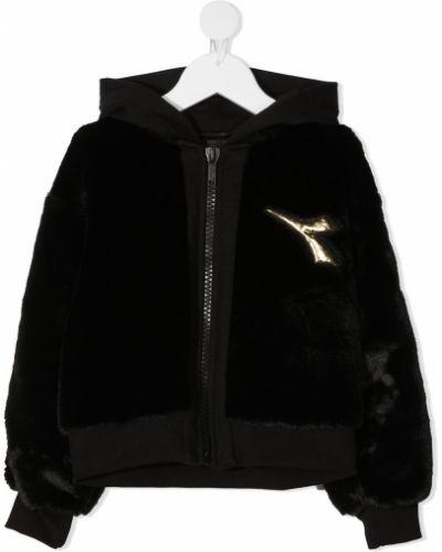 Черная длинная куртка с капюшоном из искусственного меха Diadora Junior
