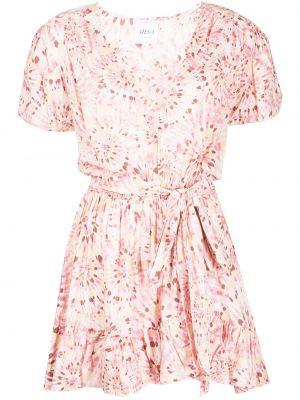 Розовое хлопковое платье мини с V-образным вырезом Misa Los Angeles