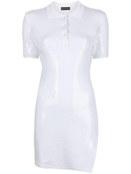Белое платье мини с короткими рукавами с воротником David Koma