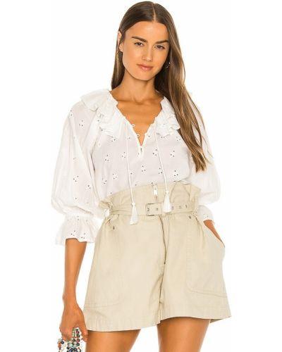 Белая блузка с декольте на резинке Cleobella