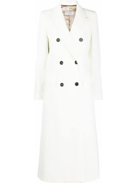 Шерстяное белое длинное пальто двубортное Alberto Biani
