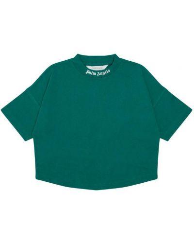 T-shirt bawełniana - zielona Palm Angels