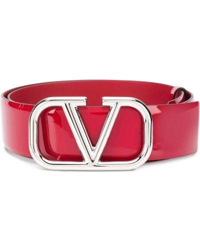 Кожаный красный ремень с перфорацией Valentino Garavani