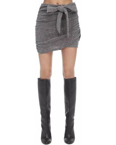 Spódnica mini asymetryczna z cekinami srebrna For Love & Lemons