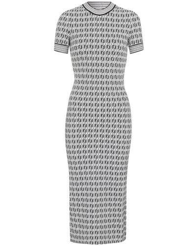 Вязаное белое платье миди для офиса Fendi