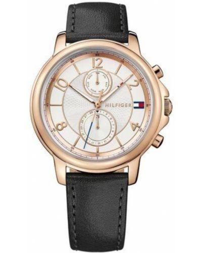Złoty zegarek na skórzanym pasku kwarc Tommy Hilfiger
