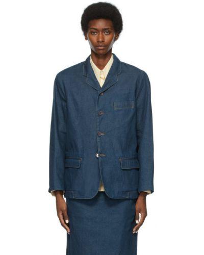 Niebieskie jeansy bawełniane z długimi rękawami Lemaire