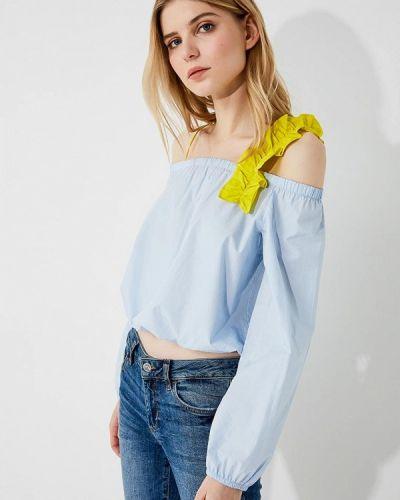Голубая блузка с открытыми плечами Pinko