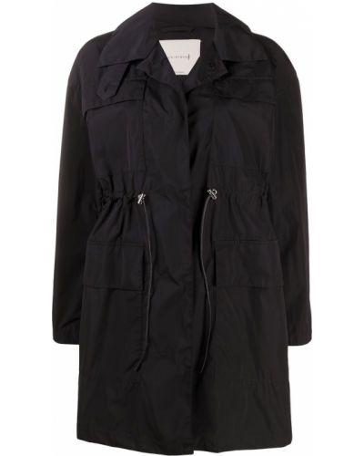 Черное пальто с воротником с поясом Mackintosh
