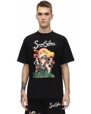 Czarny t-shirt bawełniany Sunset Soldiers