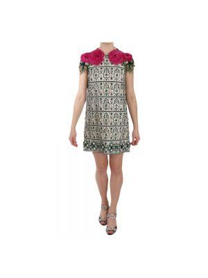 Złota zielona sukienka mini w kwiaty Dolce And Gabbana