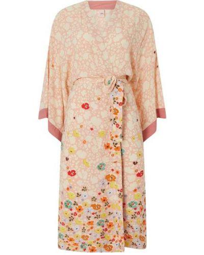 Różowe kimono z wiskozy z wiązaniami Becksöndergaard
