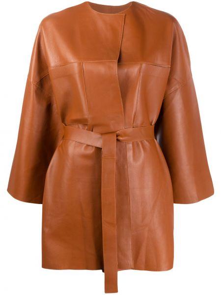 С рукавами коричневая прямая куртка с поясом S.w.o.r.d 6.6.44