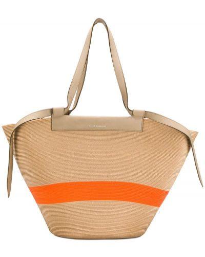 Бежевая пляжная сумка с баской Elena Ghisellini